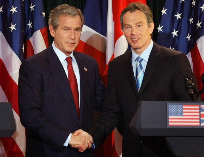 Former US President George Bush and former Prime Minister Tony Blair