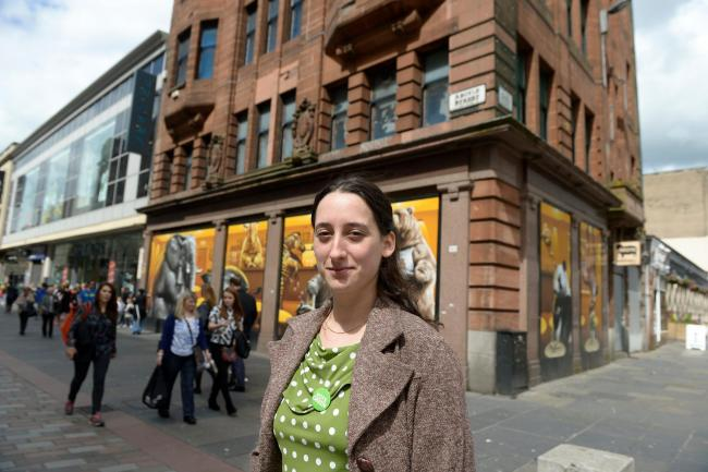 Picture Nick Ponty 29/7/15 .Greens candidate Christy Mearns calls for rethink of plans to demolish listed building to make way for student flats..Christy outside the building in Argyle Street. (33587517)