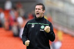 22/08/15 LADBROKES PREMIERSHIP . DUNDEE UTD v CELTIC (1-3) . TANNADICE - DUNDEE . Celtic manager Ronny Deila celebrates at full-time.