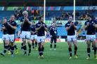 LEEDS, ENGLAND - SEPTEMBER 27: Scotland players take the applause from the crowd at the end of the game during the 2015 Rugby World Cup Pool B match between Scotland and USA at Elland Road on September 27, 2015 in Leeds, United Kingdom. (Photo by Mark Run