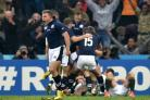 Duncan Weir celebrates after starting the break that led to Tommy Seymour's try for Scotland. Picture: PA