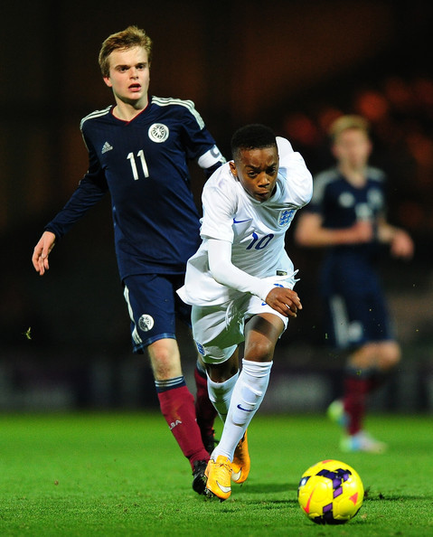 Jack Adamson in action for the Scotland Under-16 team against England in the Victory Shield last year.