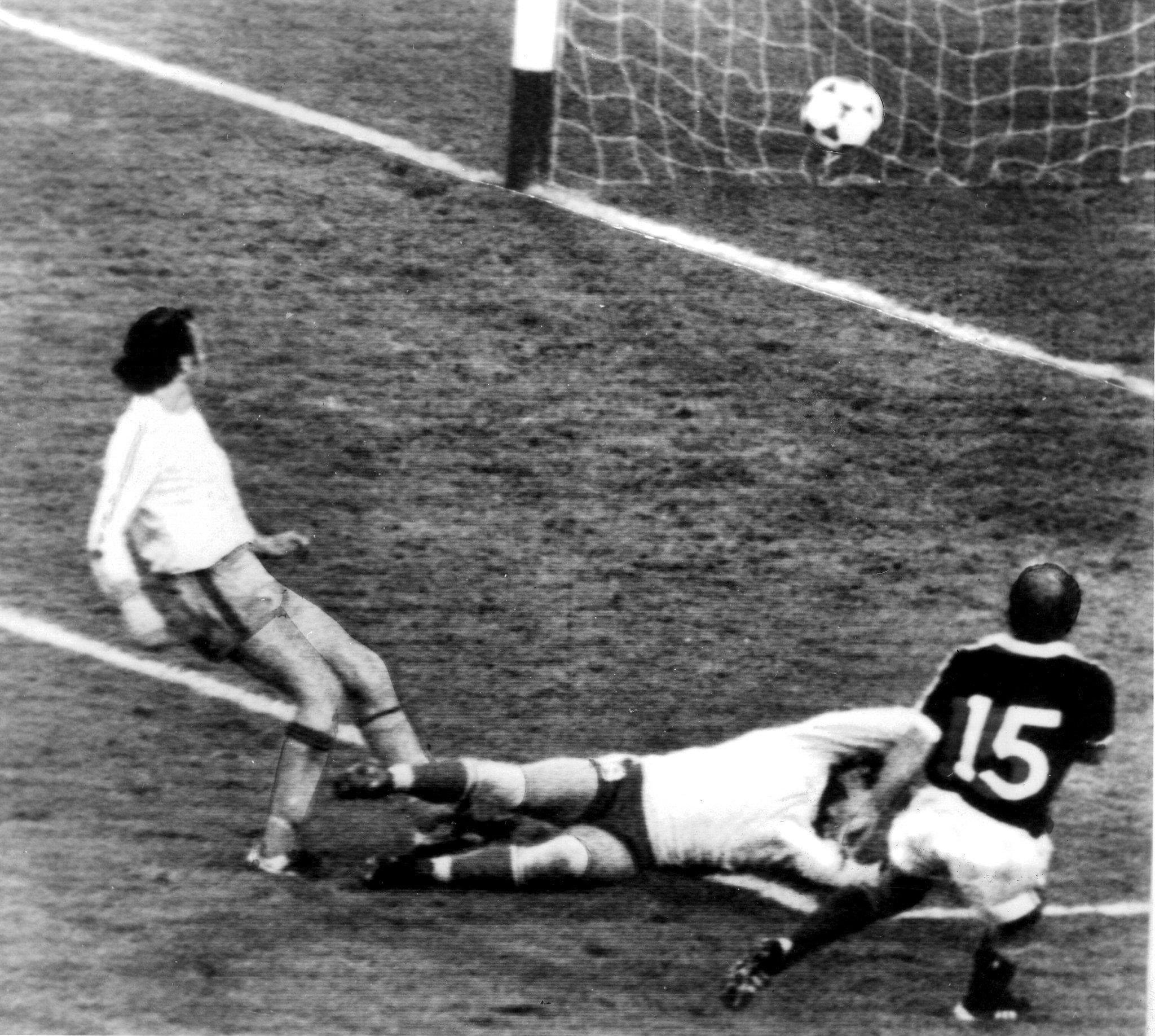 Archie Gemmill scores his memorable goal for Scotland in their 3-2 win over Holland during the 1978 World Cup in Argentina