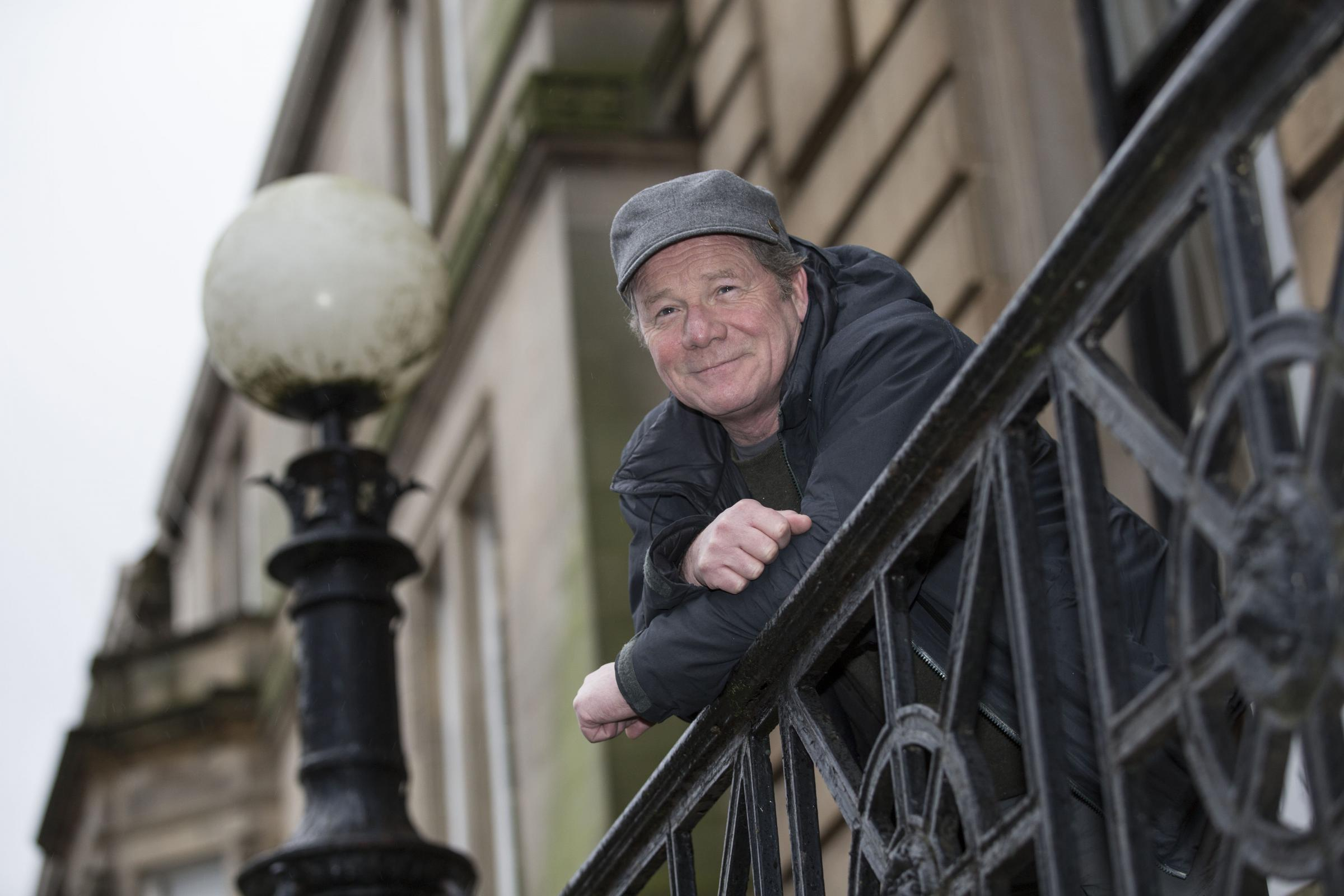 Peter Mullan outside the Trinity Building in Glasgow promoting his new film Hector