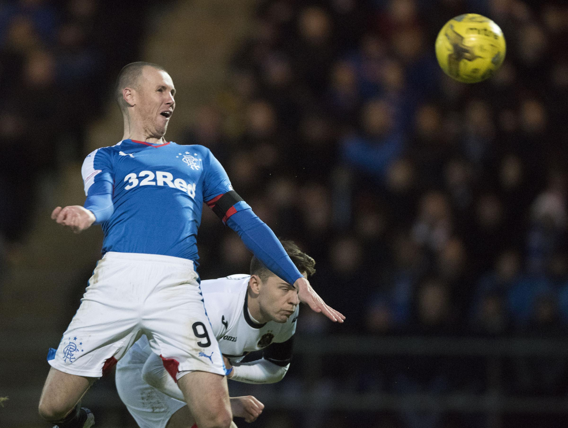 Kenny Miller heads in his second goal for Rangers