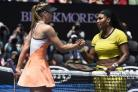 Serena Williams, right, of the United States is congratulated by Maria Sharapova of Russia after winning their quarterfinal match at the Australian Open tennis championships in Melbourne, Australia, Tuesday, Jan. 26, 2016.(AP Photo/Andrew Brownbill). (537