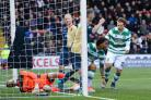 Colin Kazim-Richards celebrates after scoring Celtic's second goal in their 2-0 Scottish Cup win against East Kilbride