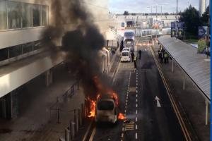 VIDEO: Taxi catches fire at Glasgow Airport