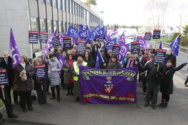 Teachers from across West Dunbartonshire turned up at the council's HQ.