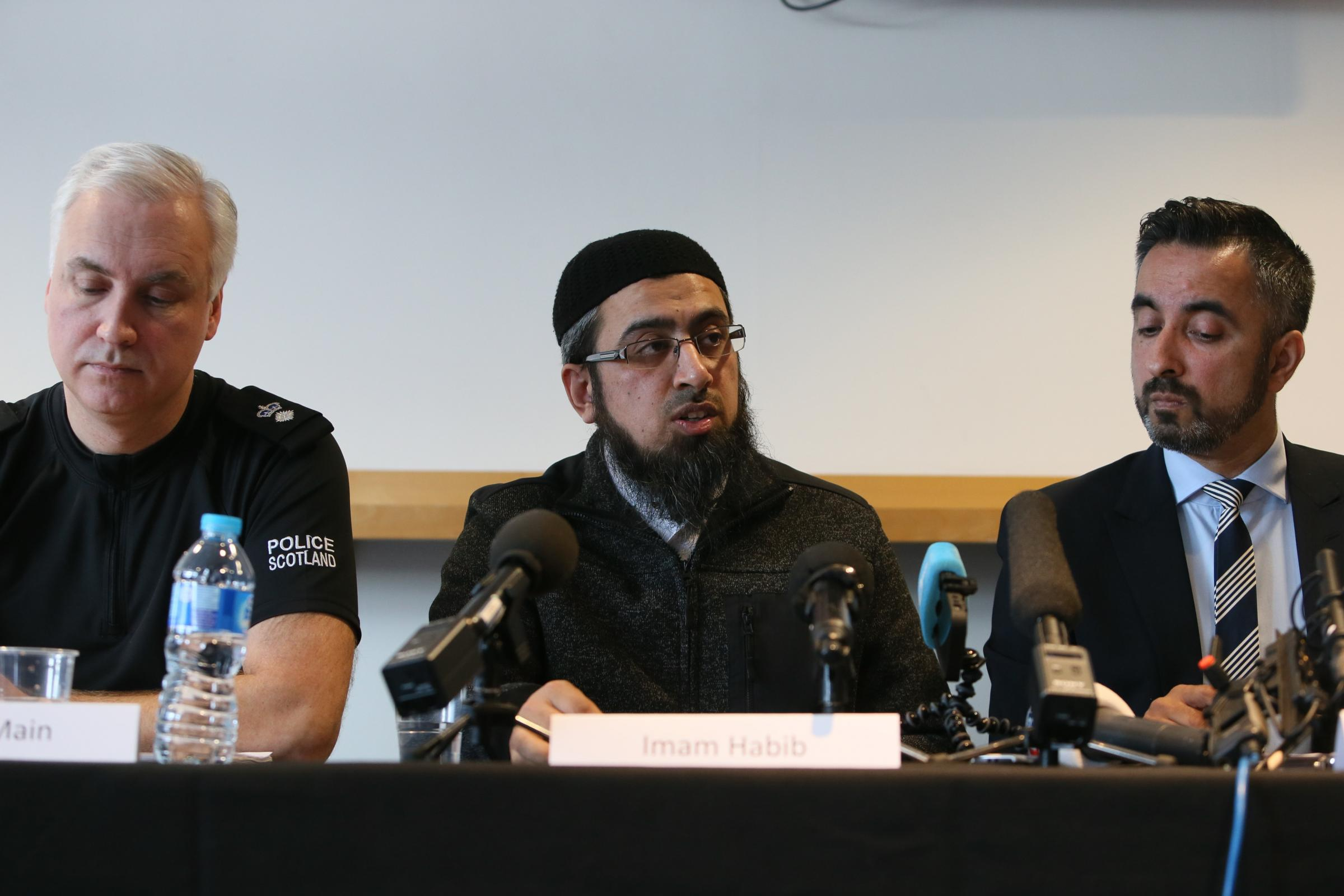Speakers include Imam Habib ur Rehman, lawyer Aamer Anwar and representatives from Police Scotland