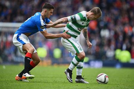 Evening Times: Dominic Ball of Rangers holds Leigh Griffiths of Celtic during the William Hill Scottish Cup semi final between Rangers and Celtic at Hampden