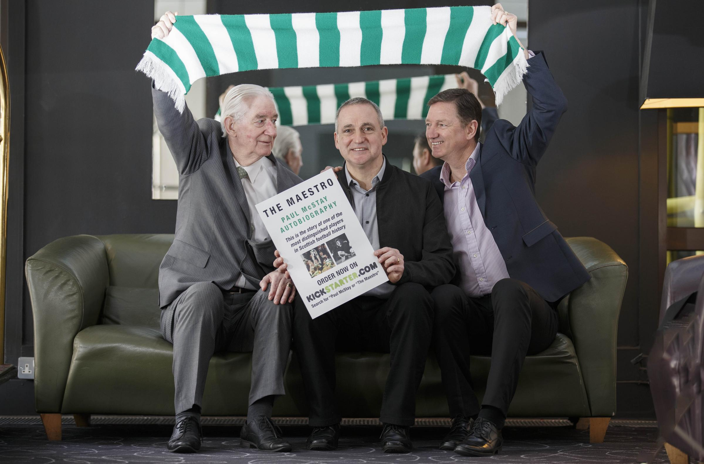 Dad John and brother Willie join Paul McStay at the launch of his autobiography
