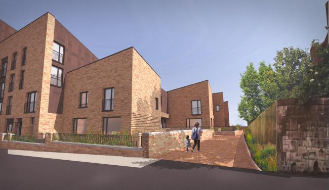 A view of the mews section of a new housing development for Govanhill