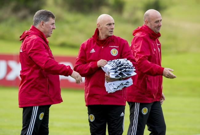 04/10/16   .  SCOTLAND TRAINING  .  MAR HALL - BISHOPTON  .  (L/R) Scotland assistant Mark McGhee, coach Andy Watson and coach Gary McAllister.