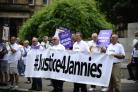 Janitors and Cordia staff strike outside Glasgow City Chambers on June 09, 2016 in Glasgow, Scotland. Picture credit: Jamie Simpson/ Herald and Times