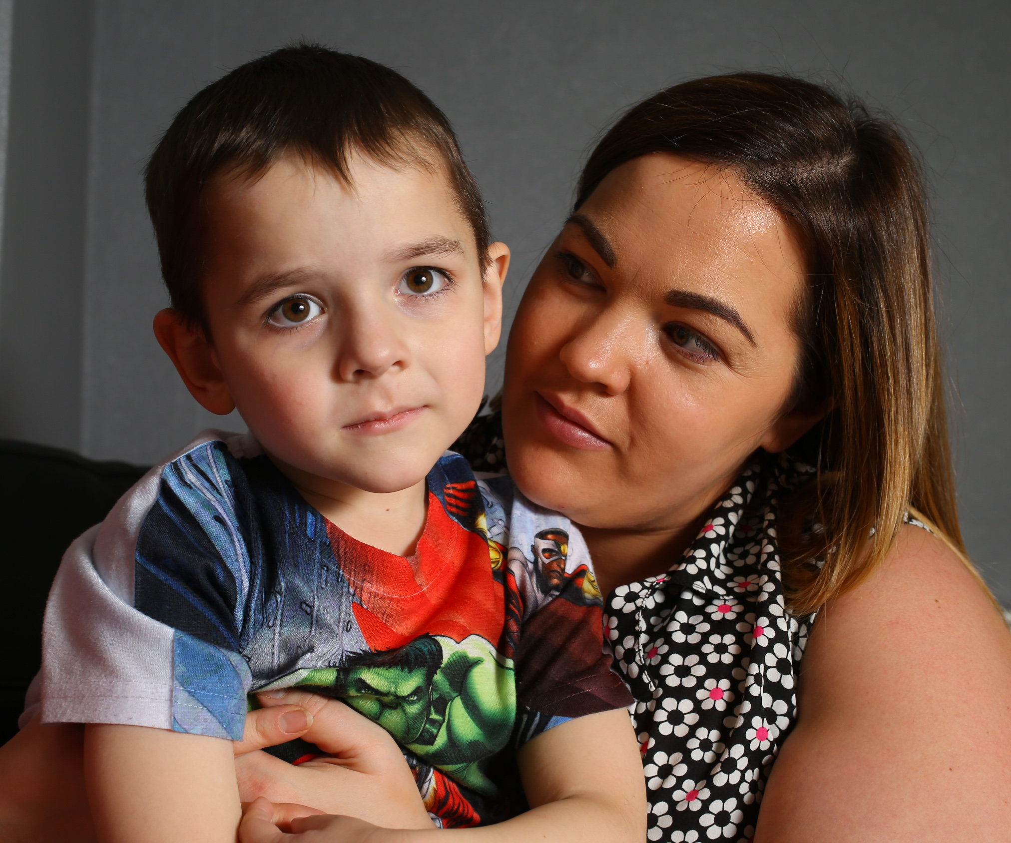 Zac Clark age 6 pictured at home in Glasgow with his mother Kimberley. Zac has the rare genetic condition Riboflavin Transporter Deficiency...   Photograph by Colin Mearns.22 November 2016.