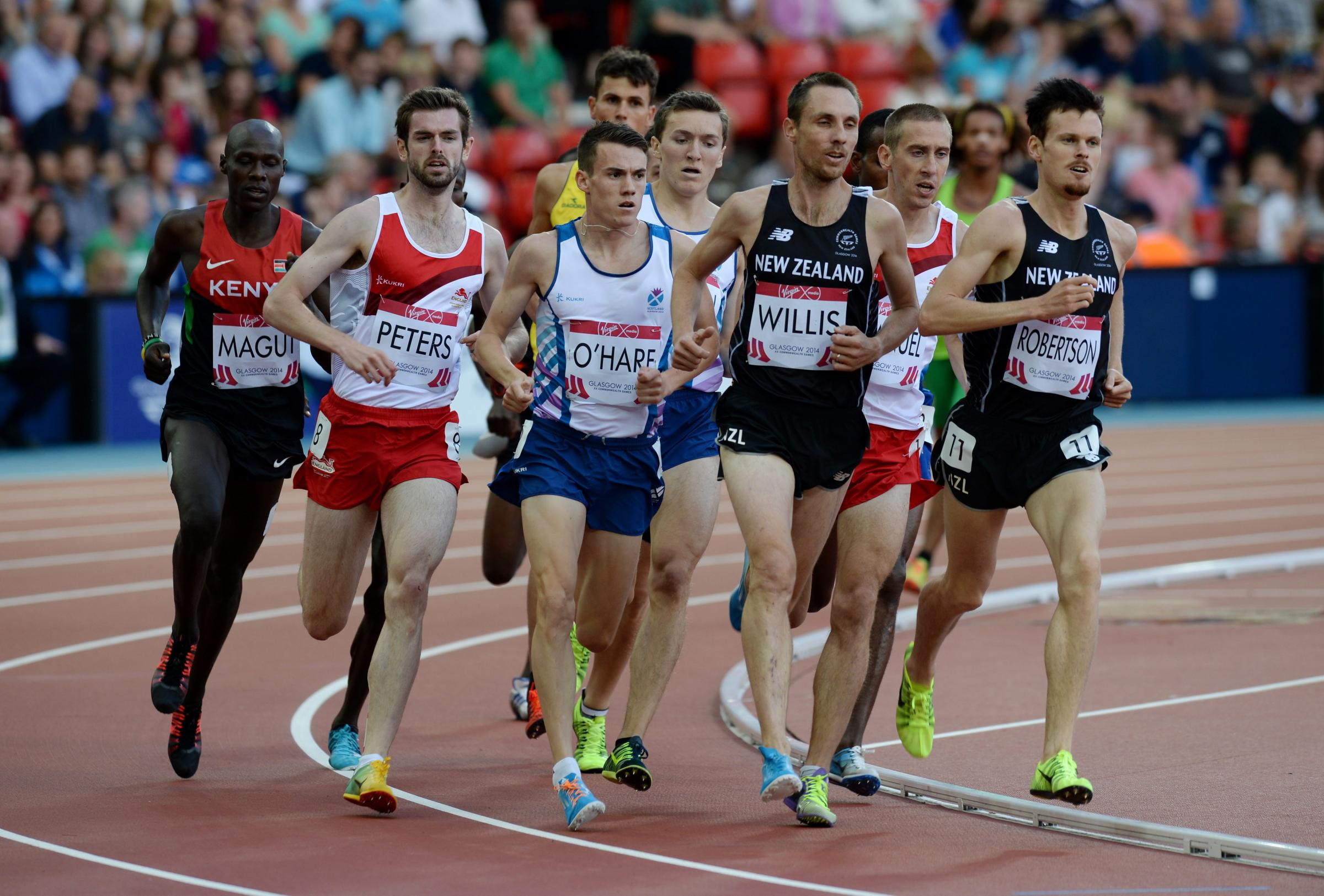Picture Nick Ponty 1/8/14.Glasgow 2014 Commonwealth Games - Day 9.Athletics - Hampden Park.Mens 1500m Round 1 .Scots Chris O'Hare and Jake Wightman.
