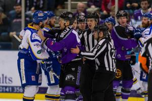 As this previous tussle above from February shows, Braehead Clan against Fife Flyers is always a lively affair. Picture: Al Goold (www.algooldphoto.com)