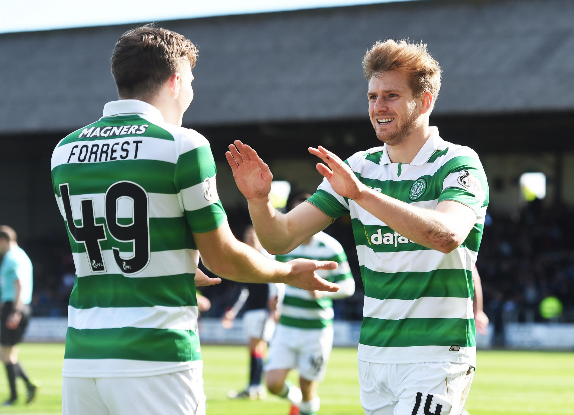 Dundee 1 Celtic 2; Jozo Simunovic and Stuart Armstrong goals take Celtic to brink of Scottish title
