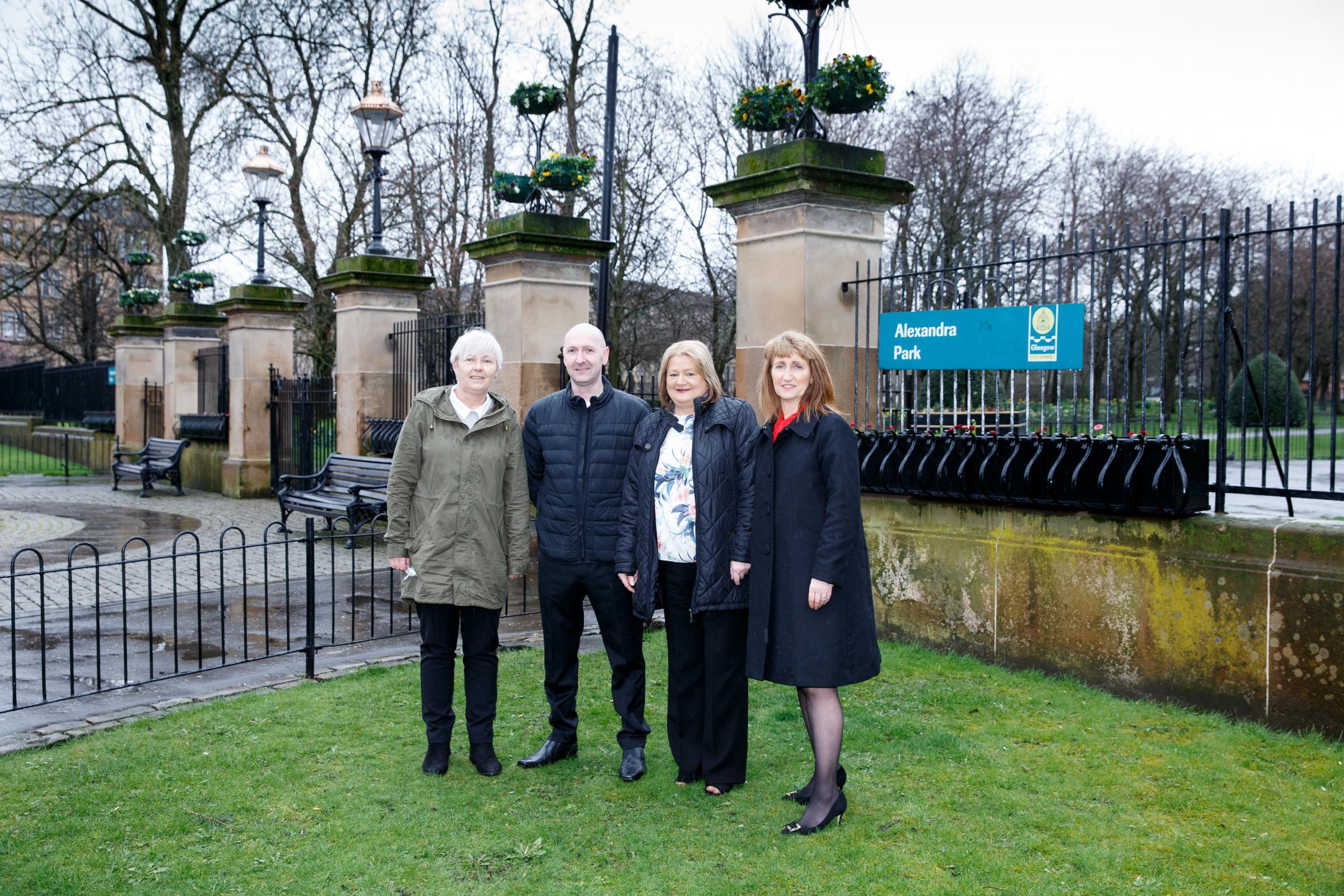 Locals in Dennistoun want to raise money for a war memorial in Alexandra Park. Dennistoun War Memorial Committee outside the gates of Alexandra Park . L to R : May Hutchinson and Jim Watson of the Committee, Bailie Elaine McDougall and Linda Sichi of Milb
