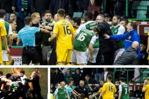 Watch: Chaos at Easter Road as Neil Lennon and Jim Duffy are sent off after squaring up to each other in the final minute