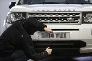 Car registration theft is on the increase. Picture posed using model. . Picture Robert Perry for The Herald and  Evening Times 23rd March 2015..Must credit photo to Robert Perry.FEE PAYABLE FOR REPRO USE.FEE PAYABLE FOR ALL INTERNET USE.www.robertperry.co