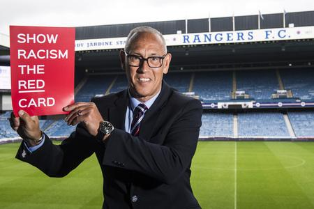 Evening Times: Rangers legend Mark Hateley joins pupils from Ibrox and Craigton Primary School at a Show Racism the Red Card workshop