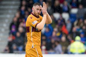 Motherwell's Louis Moult as he is substituted on the last game of the season