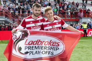 Hamilton's Scott McMann Greg Docherty fly the flag after Sunday's dramatic win over Dundee United