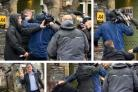 Tim Farron, below left, at the polling station (credit: Danny Lawson/PA Wire) as the two men break into a fight (credit: BBC News)
