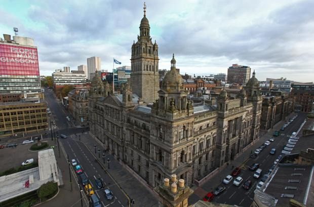 Evening Times: GV of Glasgow City Chambers, George Square, Glasgow city centre. Photograph taken from roof terrace of 5 George square...   Photograph by Colin Mearns.28 October 2016.