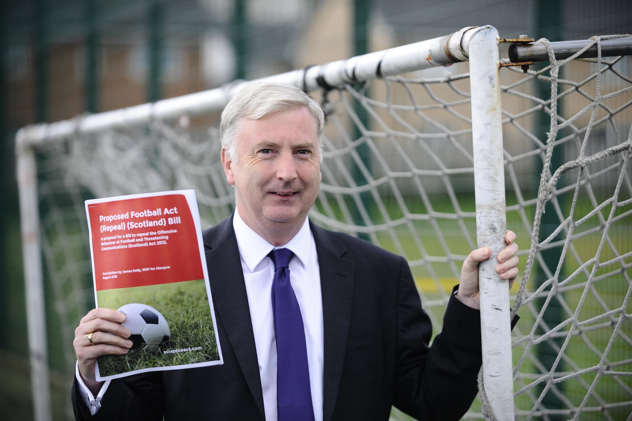 Scottish Labour MSP James Kelly officially launches a bill to scrap the Offensive Behaviour at Football Act at Fernhill Community Centre