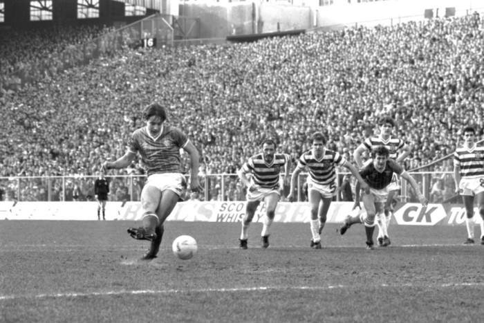 Ally McCoist opens the scoring for Rangers from the penalty spot in their 3-2 League Cup Final victory over Celtic at Hampden in 1984