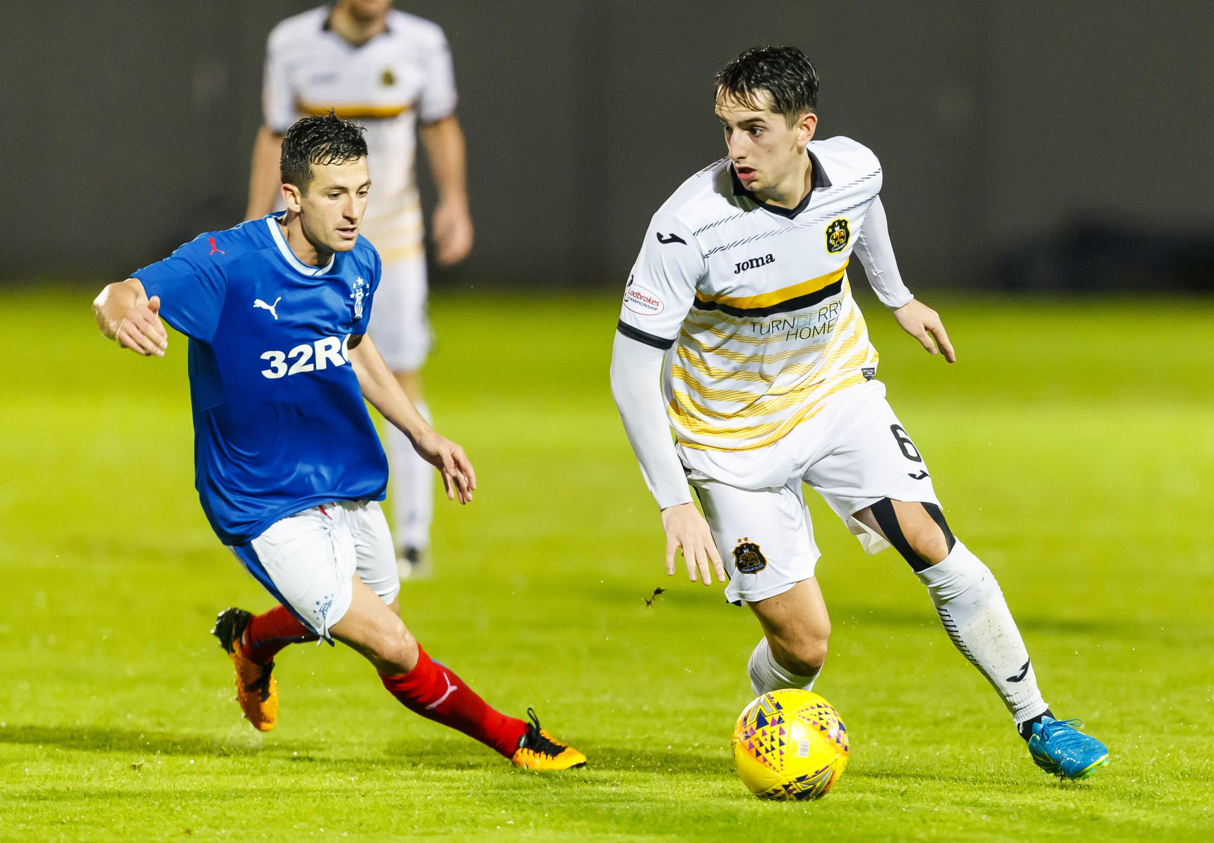 Jason Holt in action against Dumbarton