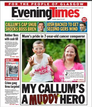 Evening Times: This morning's front page of the Evening Times