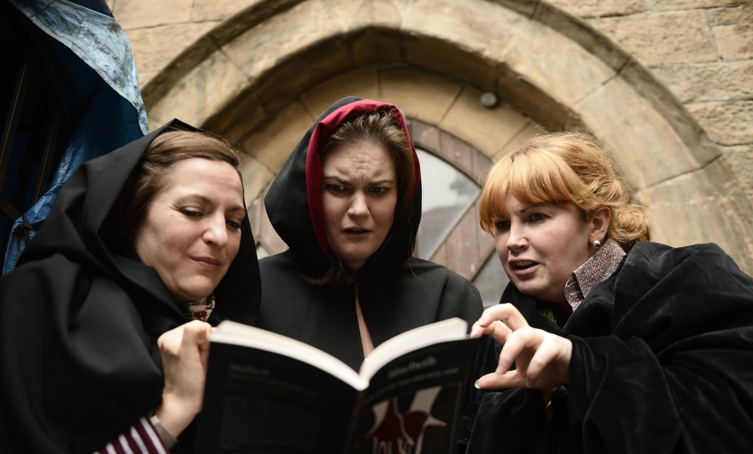 GLASGOW, SCOTLAND - SEPTEMBER 06: the cast of Oran Mor play The Witches of West Fife, featuring Kirstin McLean, Clare Waugh and Sally Reid pose for a photograph during rehearsals on September 06, 2017 in Glasgow, Scotland. (Photo by Jamie Simpson/Herald &