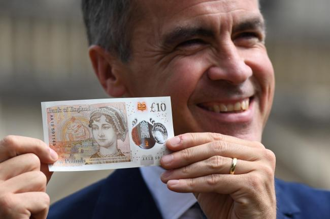 The £10 note has an image of author Jane Austen.