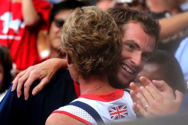 Judy Murray hugs son Andy after Olympics final win