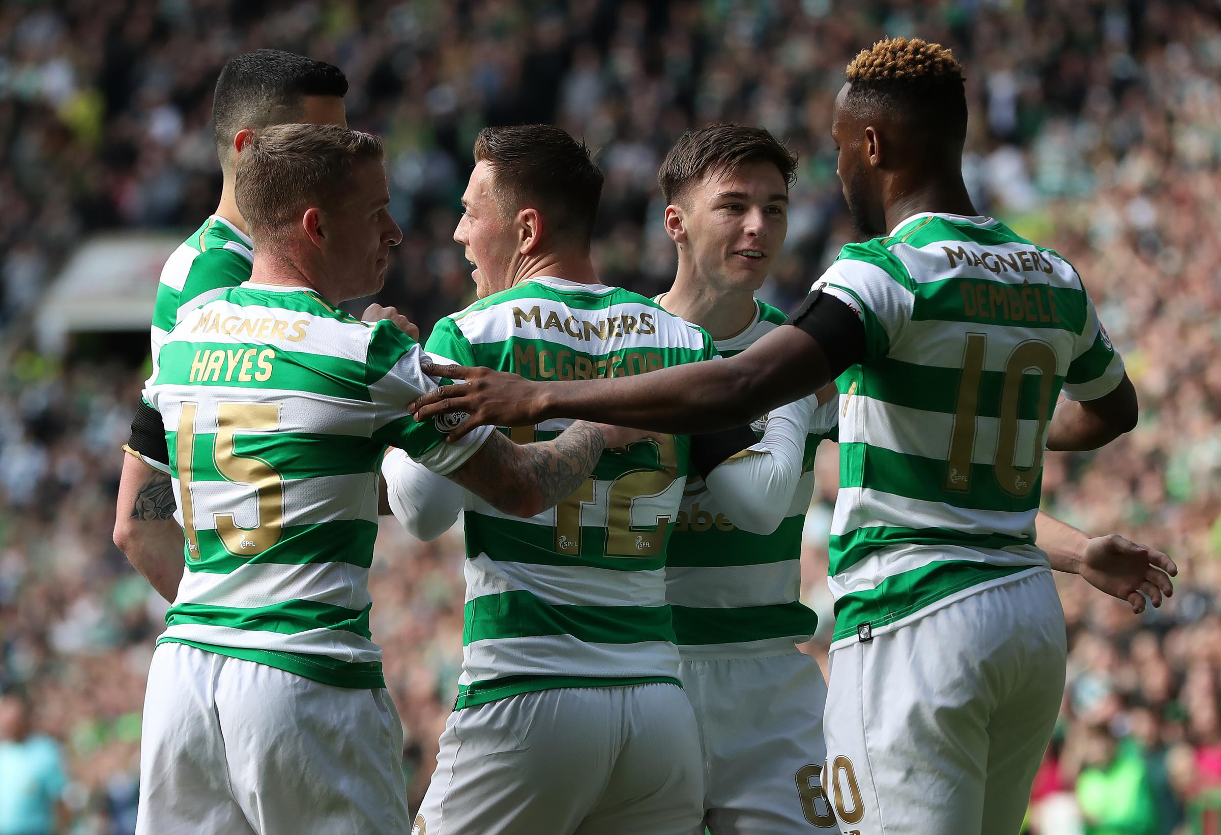 Callum McGregor with his Hoops team-mates. (Photo by Ian MacNicol/Getty Images)