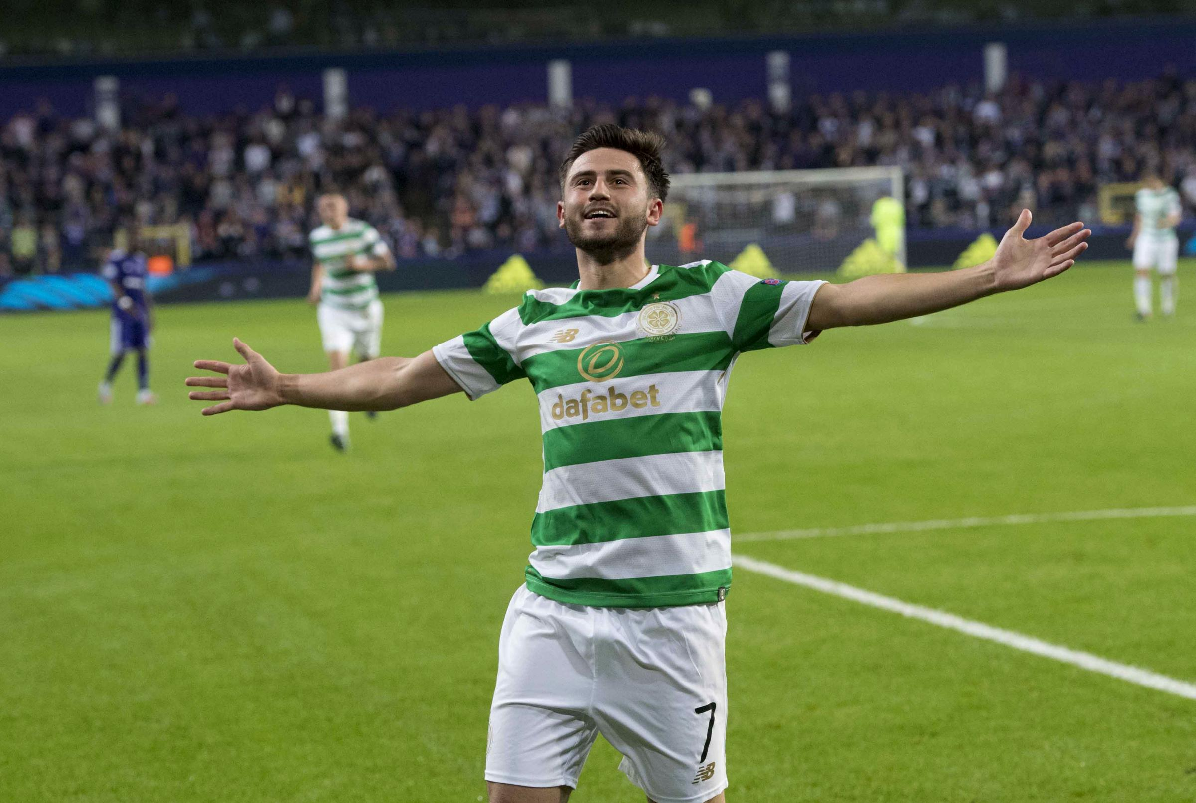 Celtic's Patrick Roberts celebrates his goal against Anderlecht last week in the UEFA Champions League