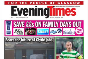 Today's front page of the Evening Times