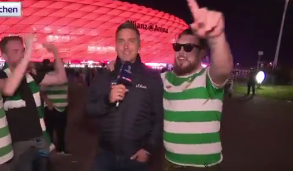 Video: Celtic fan launches into pro-IRA song live on German TV as supporters are branded PIGLETS in local media
