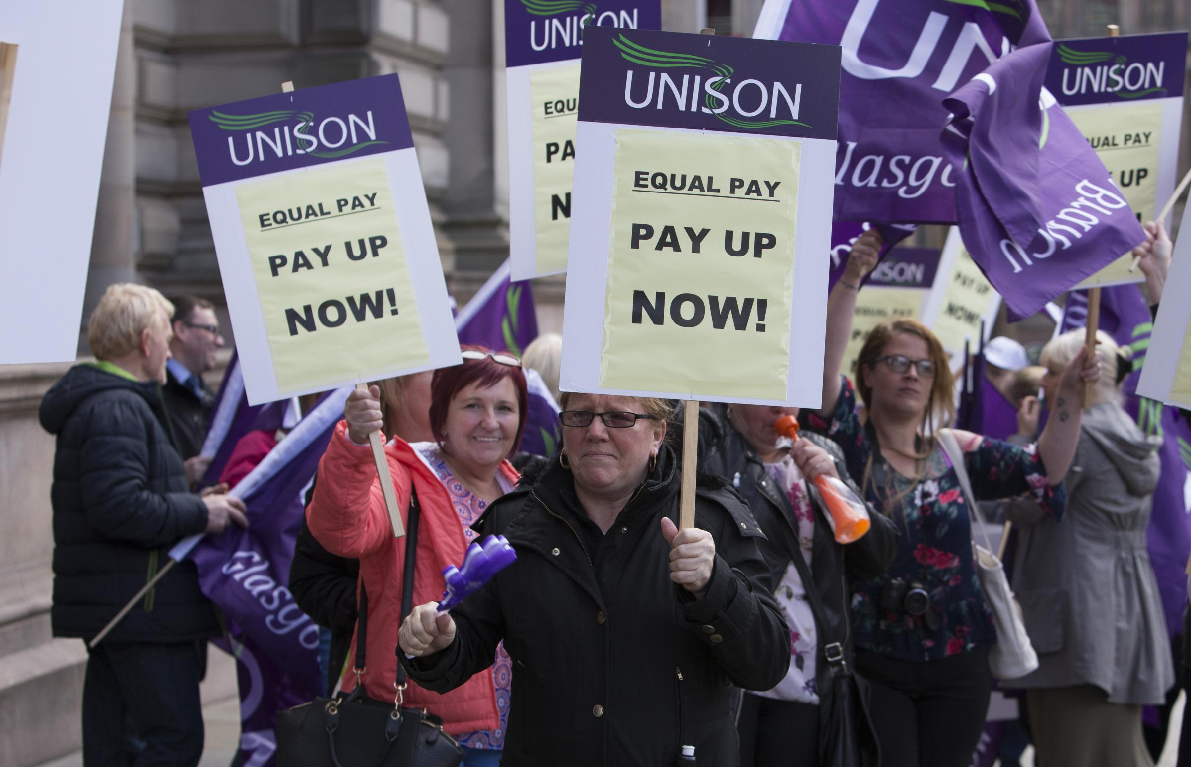 Equal Pay Protest by GMB and Unison members   Picture: Mark Gibson