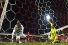 25/10/17 LADBROKES PREMIERSHIP . ABERDEEN v CELTIC. PITTODRIE - ABERDEEN. Celtic's Moussa Dembele (left) scores his side's second goal.