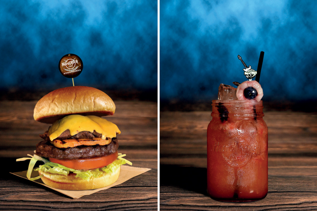 Limited edition Halloween voodoo burger (left) and evil eye cocktail (right)