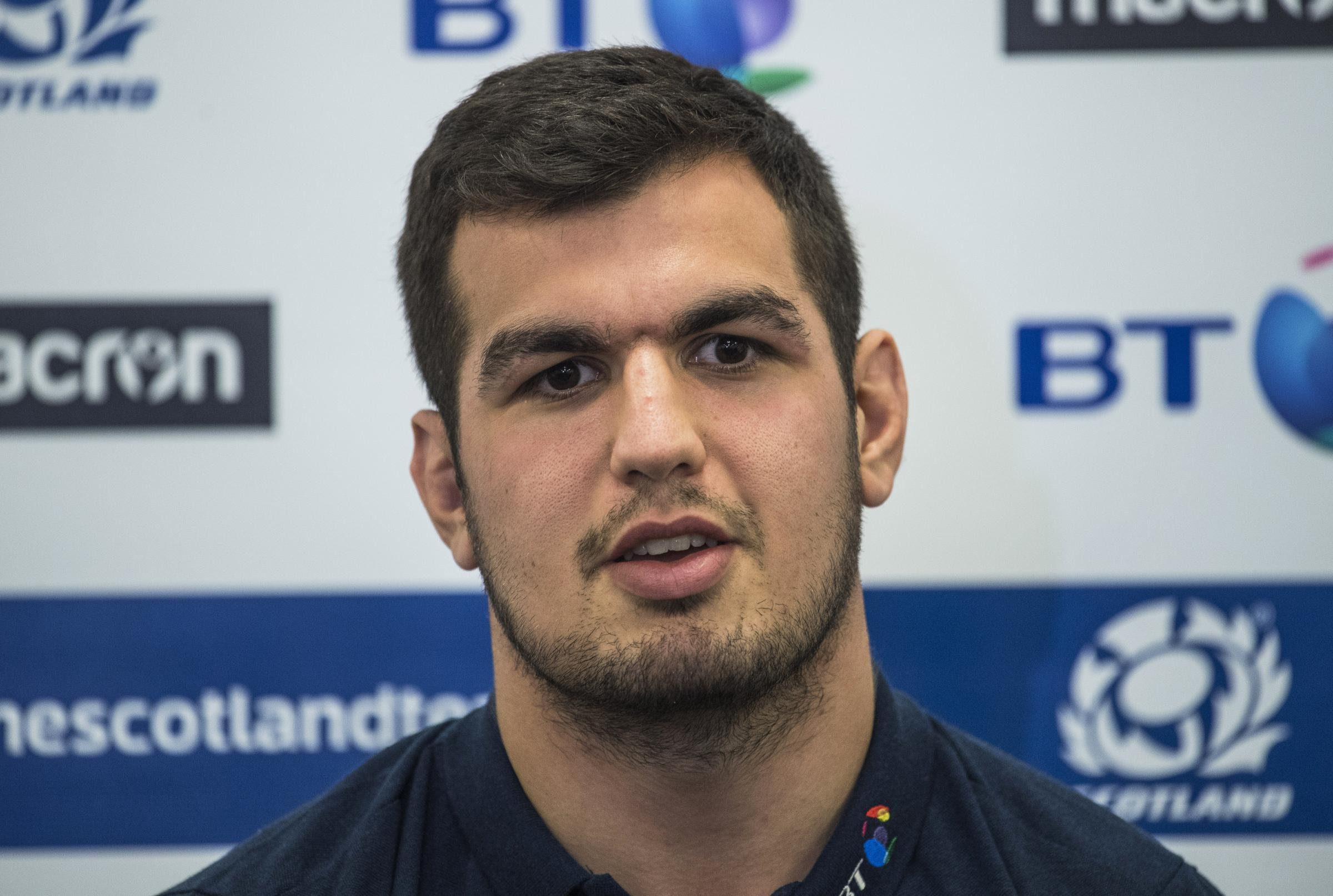 07/11/17. ORIAM - EDINBURGH. Scotland's Stuart McInally speaks to the press..