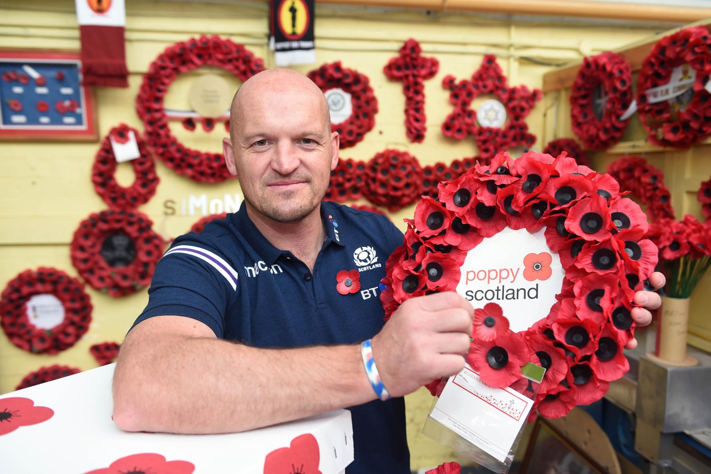 Handout photo issued by Poppyscotland of Scotland national rugby head coach Gregor Townsend during a visit to Lady HaigÕs Poppy Factory (LHPF) in Edinburgh, as he lends his support to the veterans' charity to help with the dispatch of poppies for the 2
