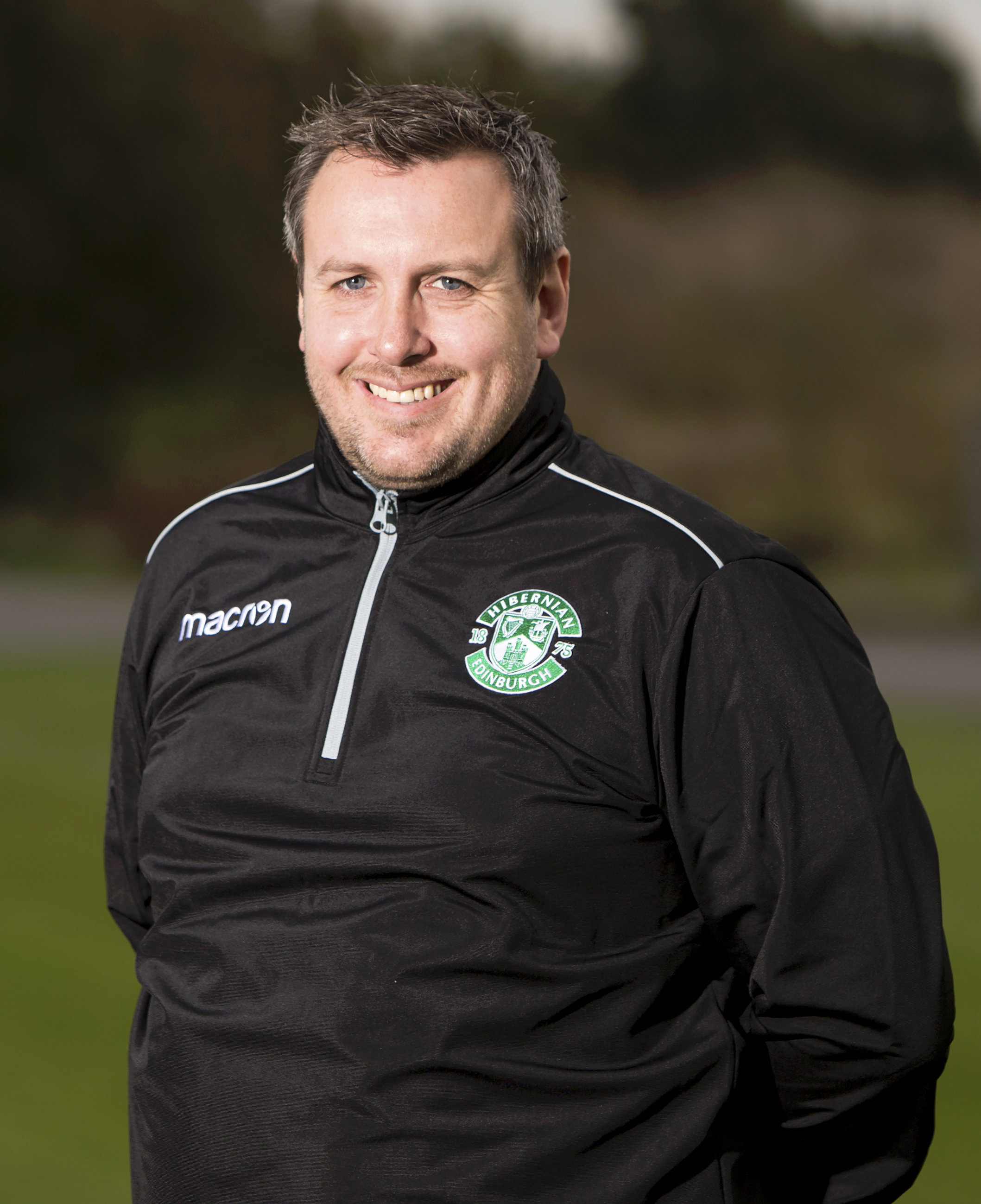 30/10/17. HIBERNIAN TRAINING CENTRE - TRANENT. Hibernian Ladies Head Coach Kevin Milne..