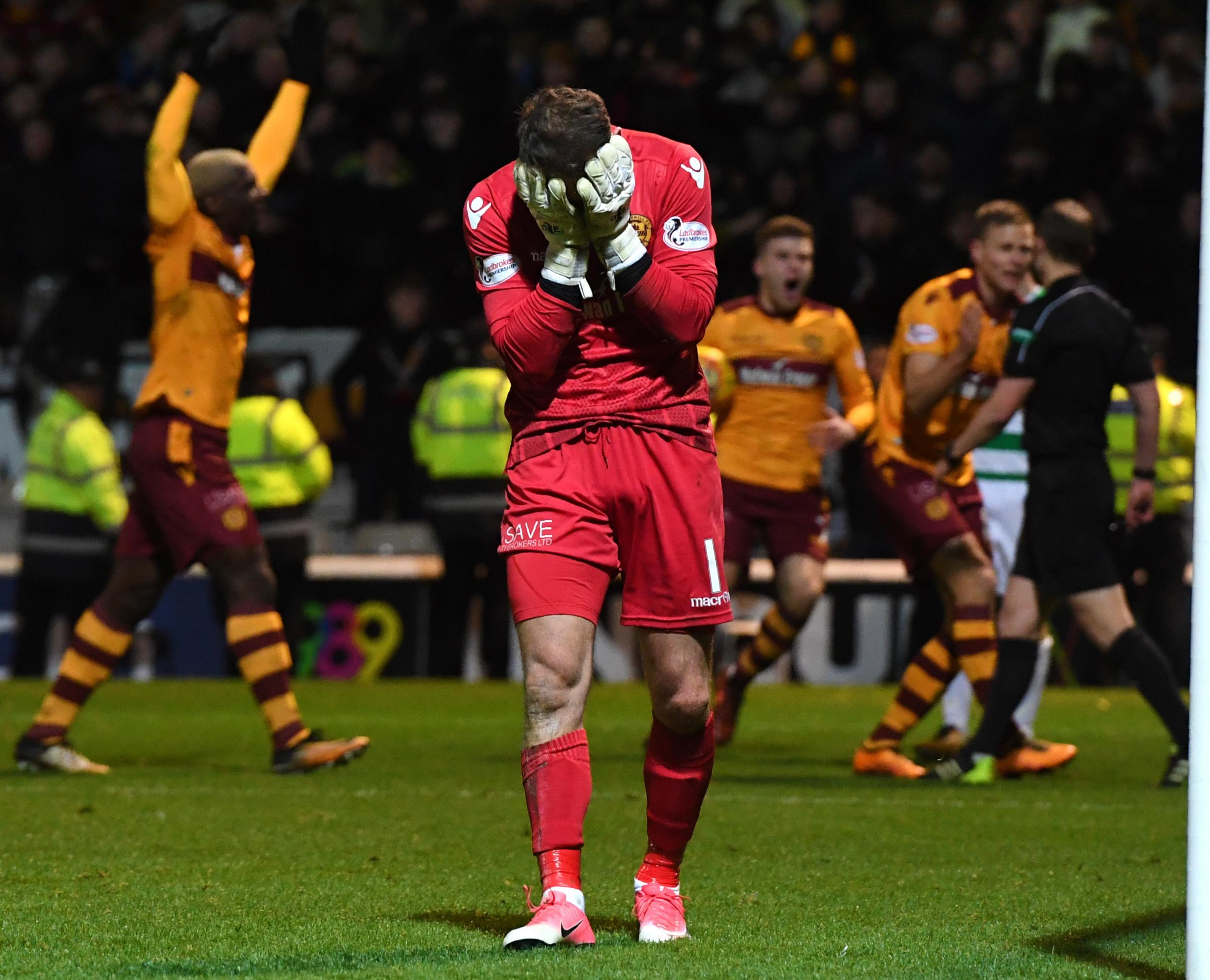 Motherwell keeper Trevor Carson couldn't believe that Willie Collum awarded Celtic a penalty in the draw between the sides on Wednesday night.