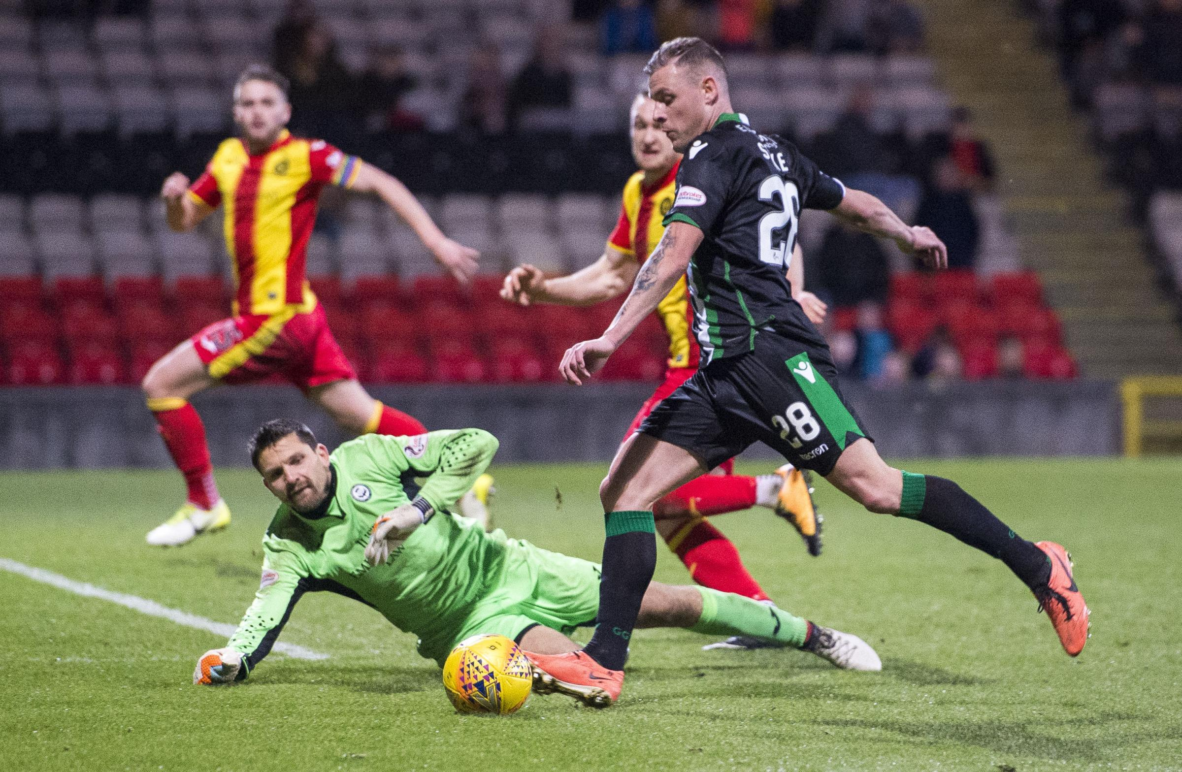 Tomas Cerny kept this Anthony Stokes effort out, but Hibs still edged Partick Thistle at Firhill.